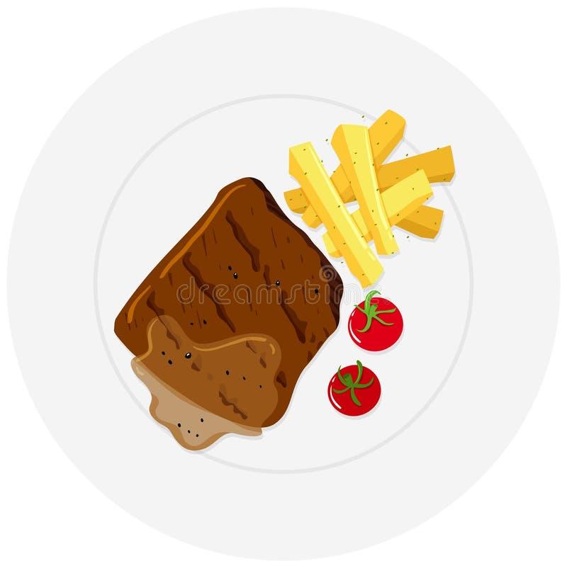 Bife e fritadas na placa ilustração stock