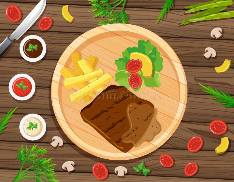 Bife e fritadas na placa redonda ilustração royalty free