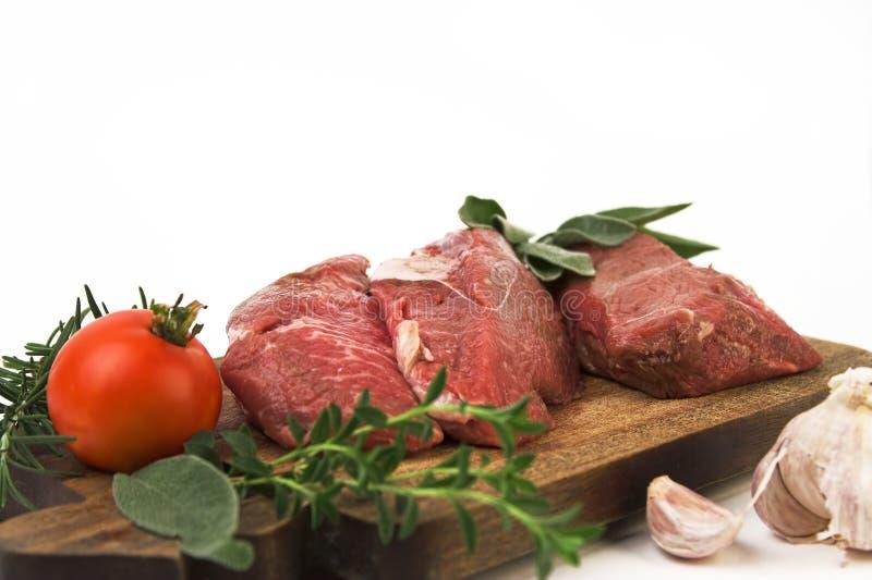 Bife e ingredientes imagens de stock