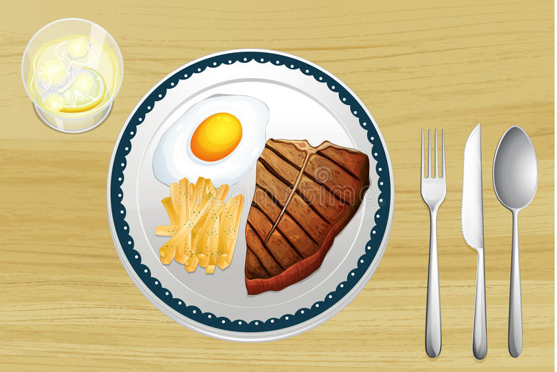 Bife, ovos e fritadas ilustração stock