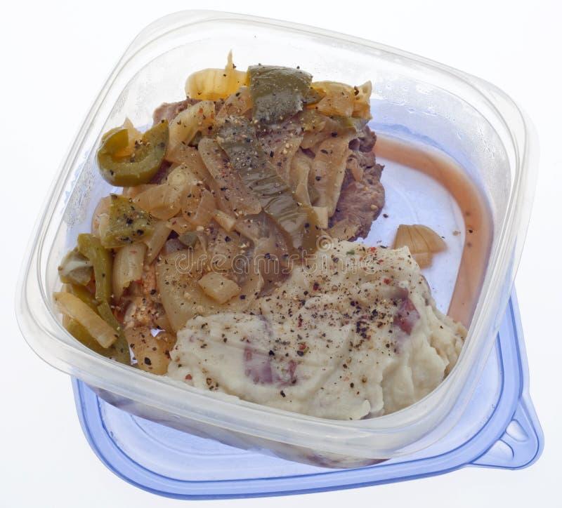 Bife restante e batatas trituradas imagens de stock royalty free
