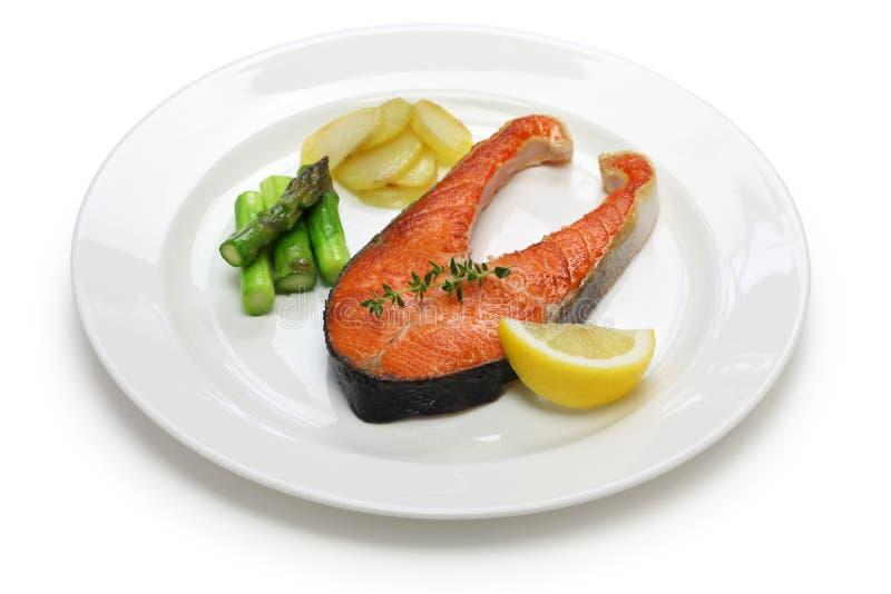 Bife salmon cozinhado imagens de stock