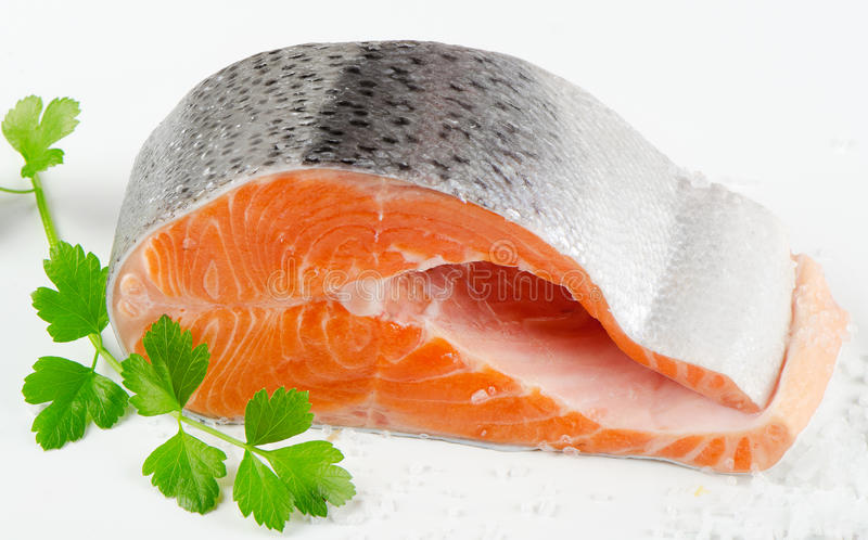 Bife salmon fresco imagem de stock royalty free