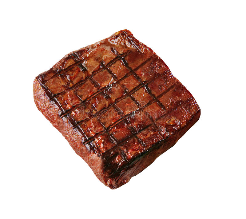 Bife sem ossos grelhado fresco quente do olho do reforço isolado foto de stock