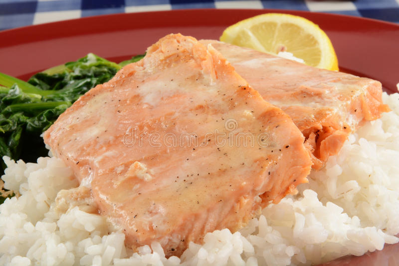 Bifes Salmon grelhados imagens de stock