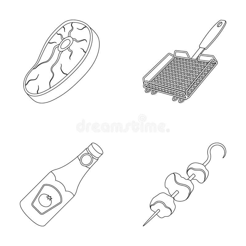 Biff för rått kött, galler med handtaget, flaska av ketchup, kebab BBQ ställde in samlingssymboler i översiktsstilvektor vektor illustrationer