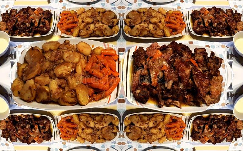Biff med grisk?tt och potatis och mor?tter Det traditionella rum?nska receptet royaltyfria bilder