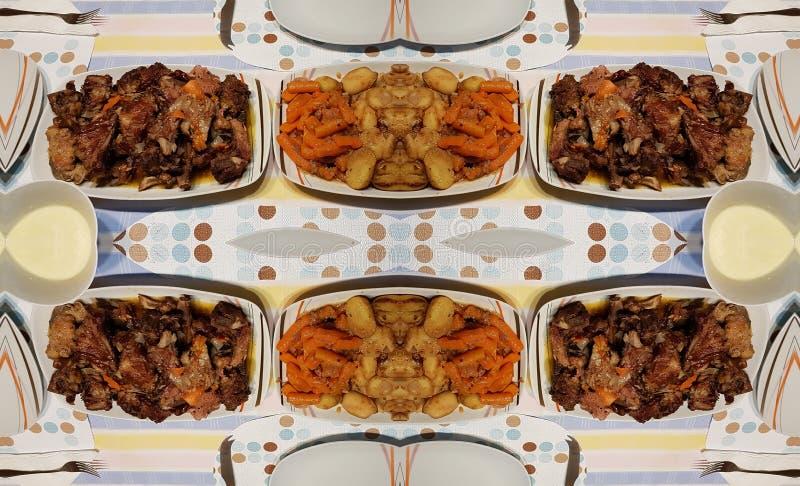 Biff med grisk?tt och potatis och mor?tter Det traditionella rum?nska receptet fotografering för bildbyråer