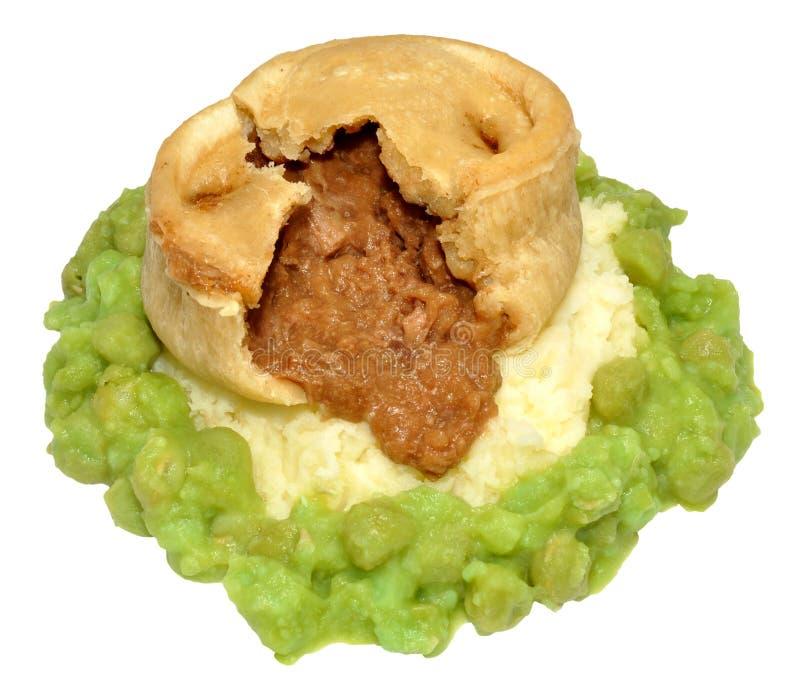 Biff- och njurepudding med den mosade potatisen och ärtor royaltyfria foton