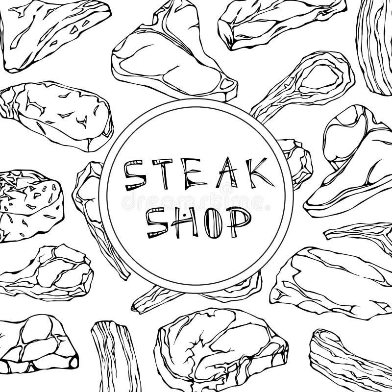 Biff shoppar kortet med köttprodukter Restaurangmeny eller slaktare Market Template Nötköttbiff, lamm, grisköttstöd vektor vektor illustrationer
