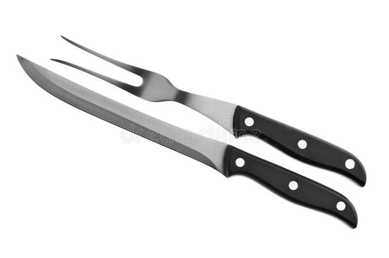 Biffgaffel och kniv arkivfoto