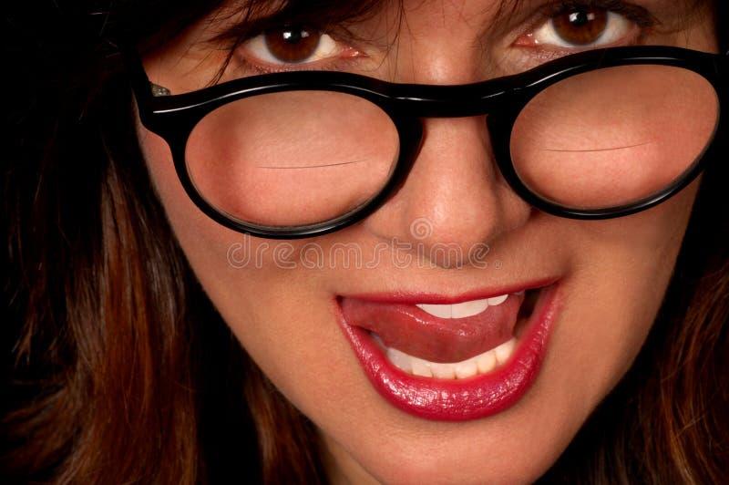bifokalglasögonkvinna royaltyfri foto
