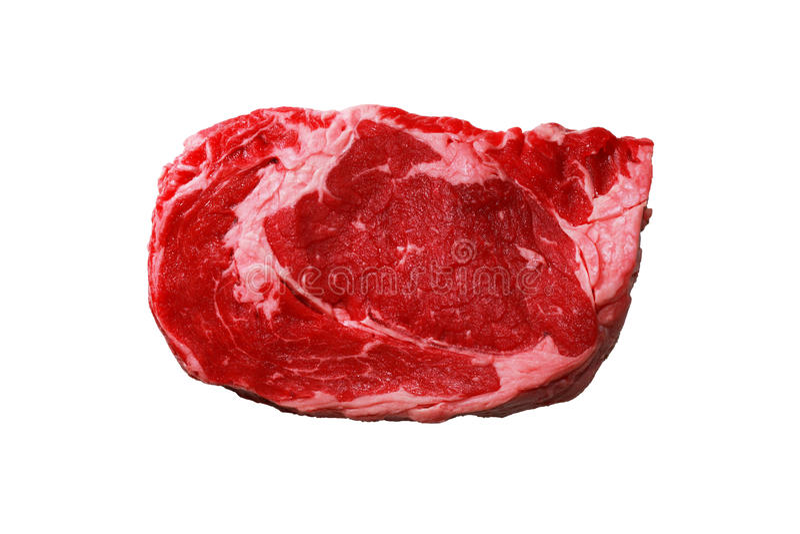 Bifteck cru d'isolement de nervure-oeil photo libre de droits