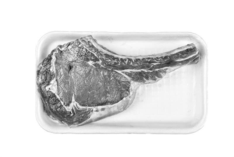 bifteck de boeuf, à l'os, cru, supermarché, vente, part, boîte de boutique, Ba images stock