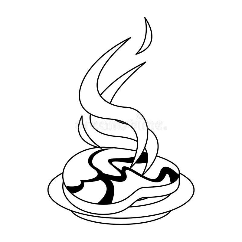 Bifteck de boeuf de barbecue grillé dans la bande dessinée de plat en noir et blanc illustration libre de droits
