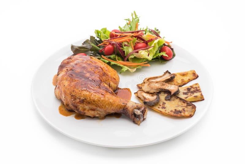 bifteck de poulet de grils avec de la sauce à teriyaki image libre de droits