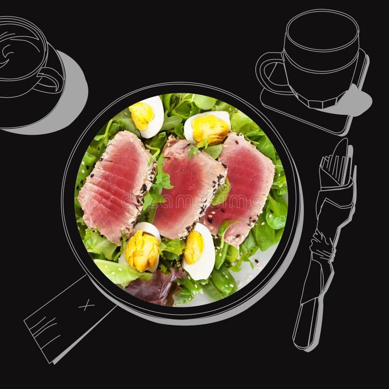 Bifteck de thon délicieux avec de la salade illustration stock