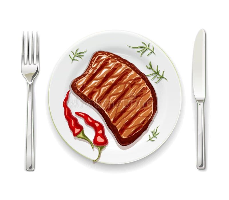 Bifteck de viande à avec l'illustration de vecteur de fourchette illustration de vecteur