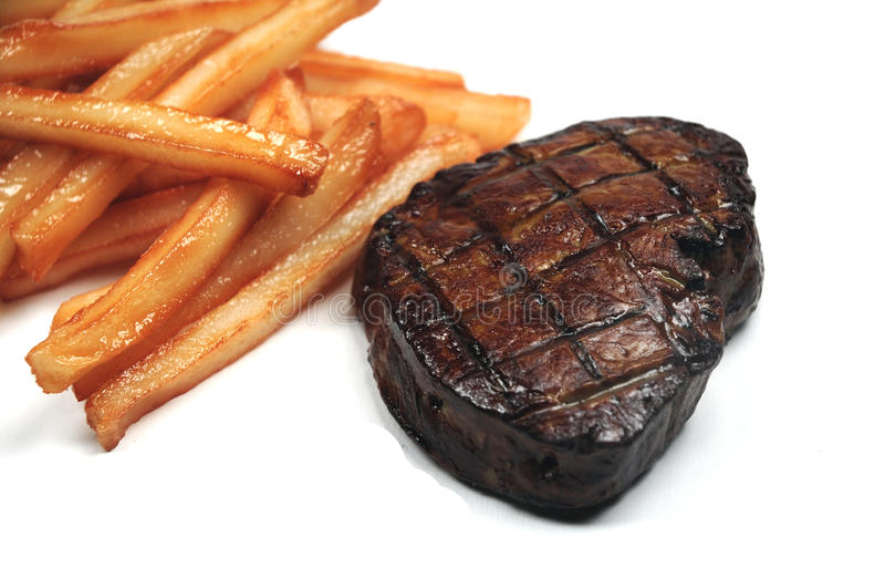 Bifteck et fritures photographie stock