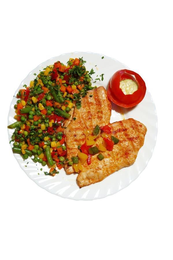 Bifteck et légumes images stock