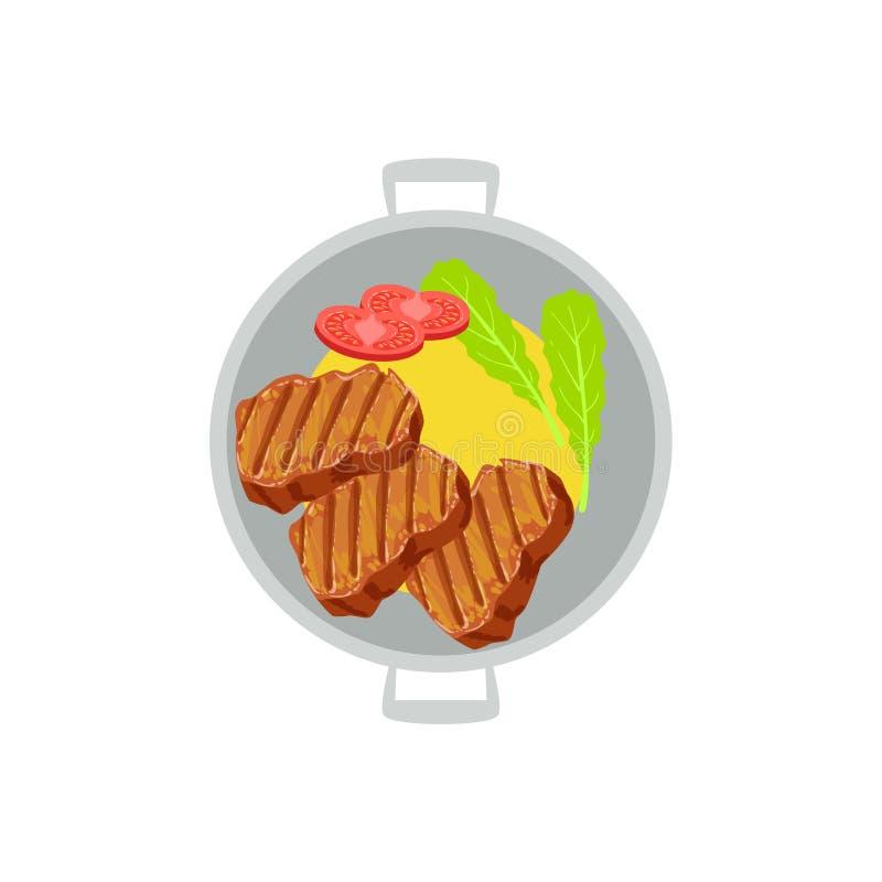 Biftecks de boeuf grillés avec le côté de la purée de pommes de terre et l'illustration fraîche de vecteur de tomate de la nourri illustration libre de droits