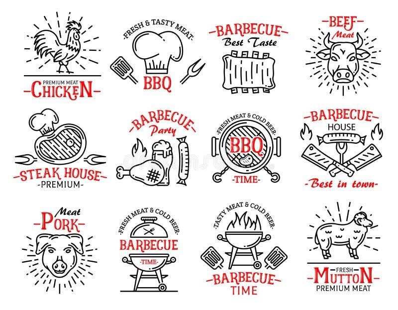 Biftecks de signes d'icônes de produits carnés sur le gril de barbecue illustration libre de droits