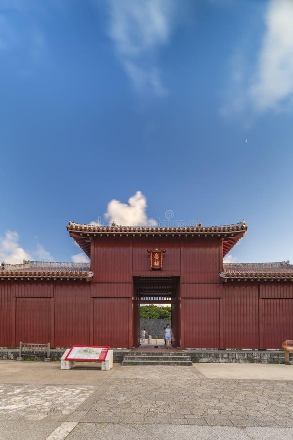 Bifukumon gate of Shuri Castle`s in the Shuri neighborhood of Naha, the capital of Okinawa Prefecture, Japan.  stock image