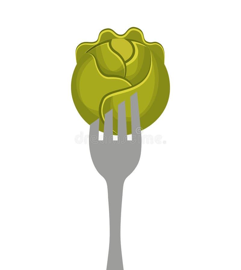 bifurcación con el icono vegetal stock de ilustración