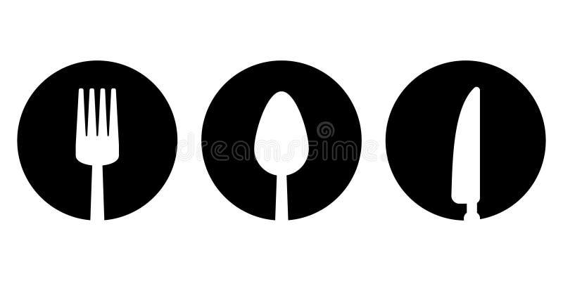 Bifurcación, cuchara, icono del cuchillo stock de ilustración