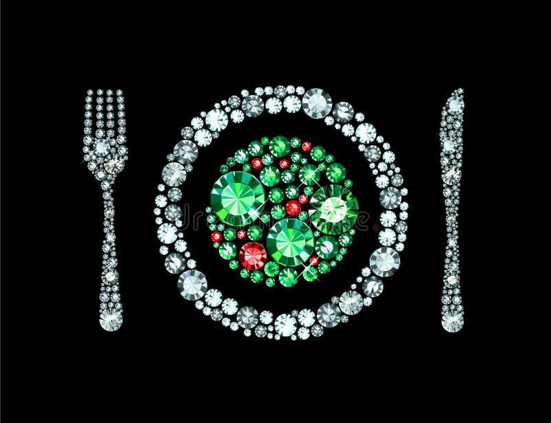 Bifurcación de Diamond Plate With Knife And stock de ilustración