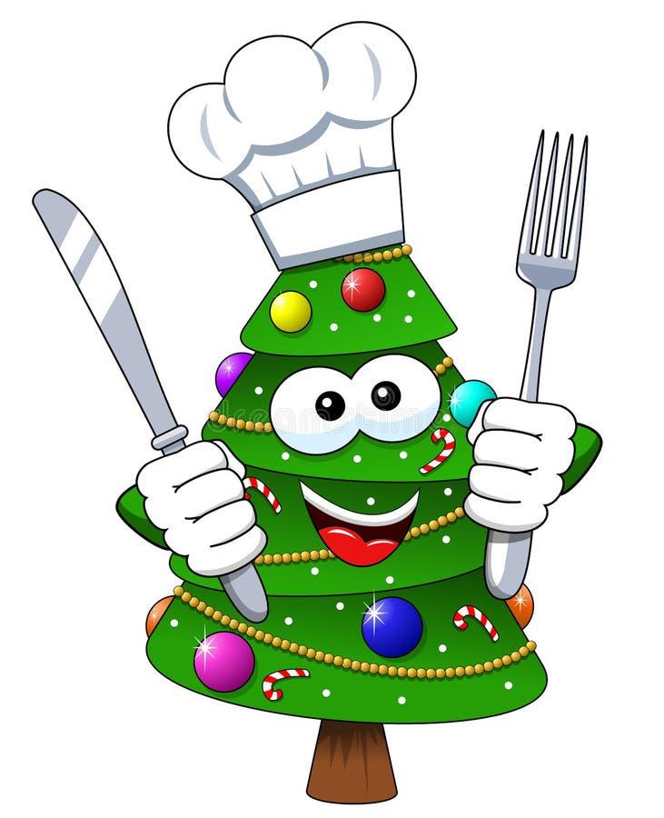 Bifurcación del carácter del cocinero de la mascota del árbol de navidad de Navidad y aislante del cuchillo ilustración del vector