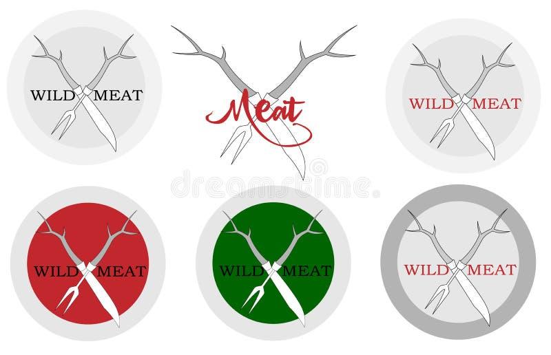 Bifurcación del cuchillo y de la carne con el logotipo de los cuernos de los ciervos para un restaurante stock de ilustración