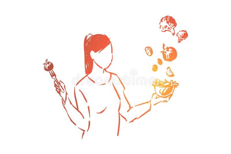 Bifurcación joven de la tenencia del vegano con el cuenco del tomate y de ensalada, dieta de la vitamina, mujer anónima que come  stock de ilustración