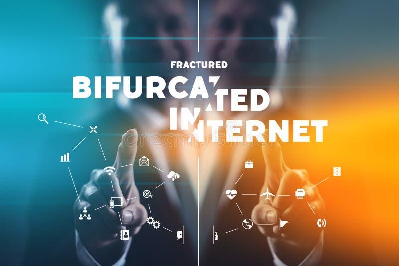 Bifurcated internet future concept stock photos