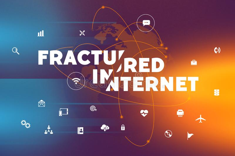 Fractured internet future concept. Bifurcated and fractured internet is the future of global communiction split to two or more separete networks stock photo