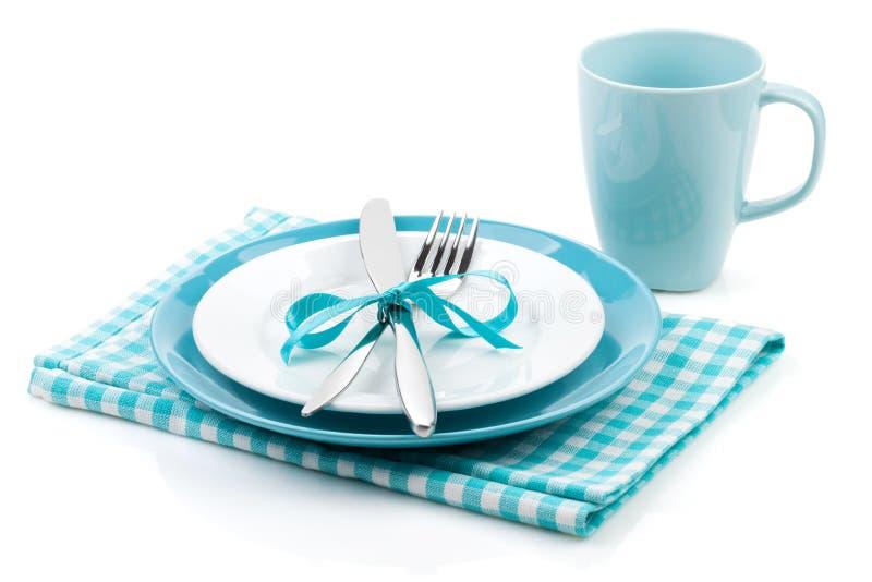 Bifurquez avec le couteau, les plats vides et la serviette image libre de droits