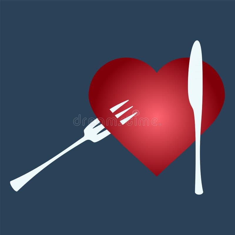 Bifurquez dans des formes de coeur illustration de vecteur