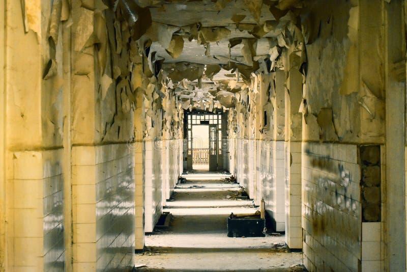 Big abandoned corridor with big broken windows and exfoliate walls in the asylum stock photos