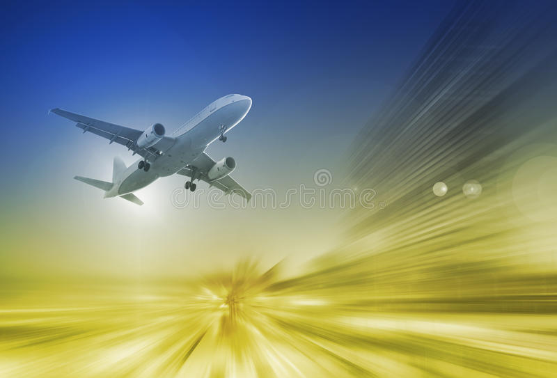 Big airplane in sky on blurred background. Big airplane taking up motion in sky on landscape blurred background vector illustration