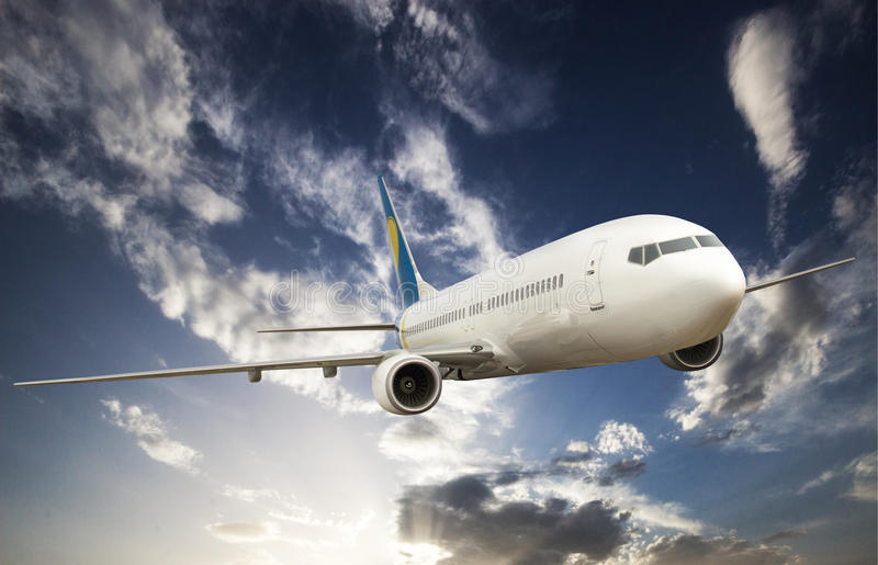 Big airplane in the sky. Big white airplane in the sky royalty free stock photo