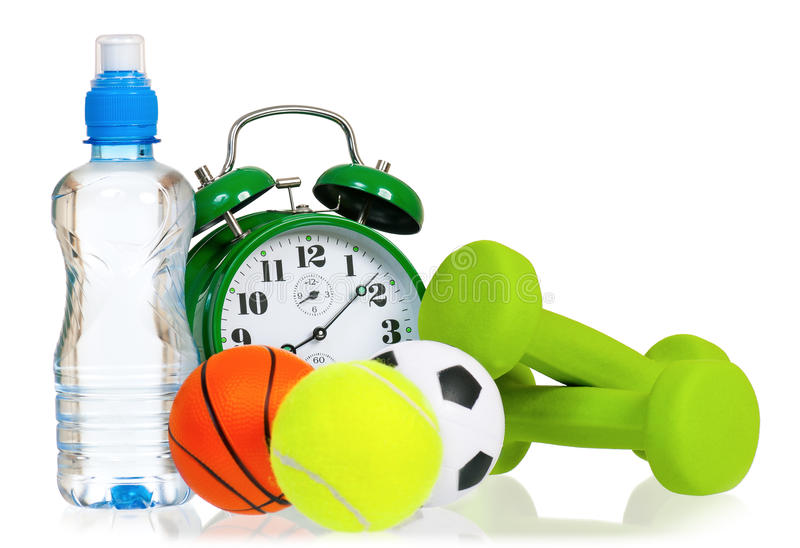 Big alarm clock with balls royalty free stock image
