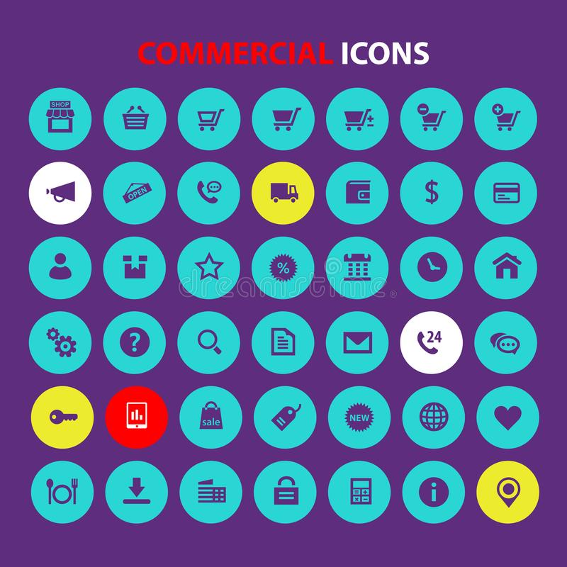 Big All Commercial icon set, trendy flat icons stock images