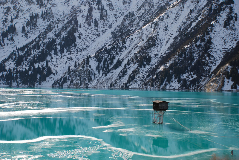 Big Almaty lake, winter stock image
