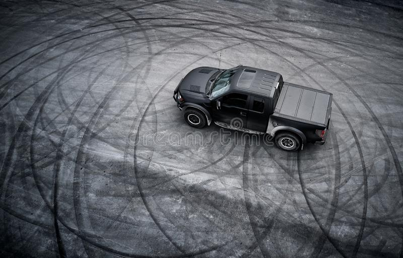 Big American pickup truck after drifting royalty free stock photography
