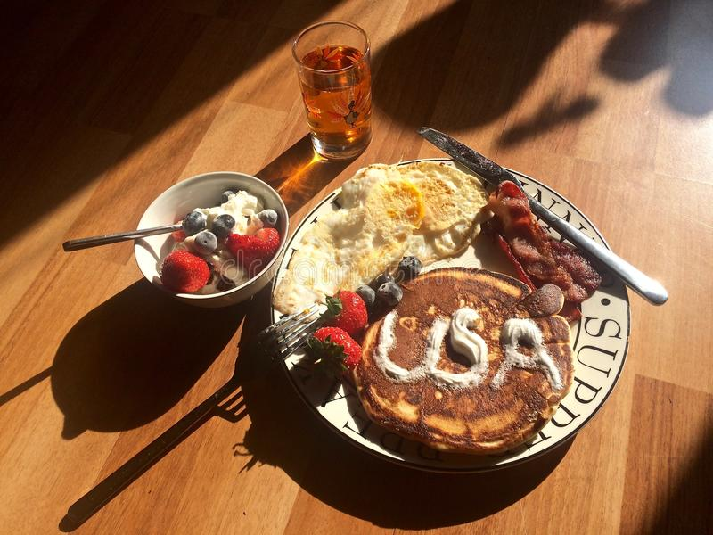 Big American Style Breakfast in Morning Light royalty free stock photos