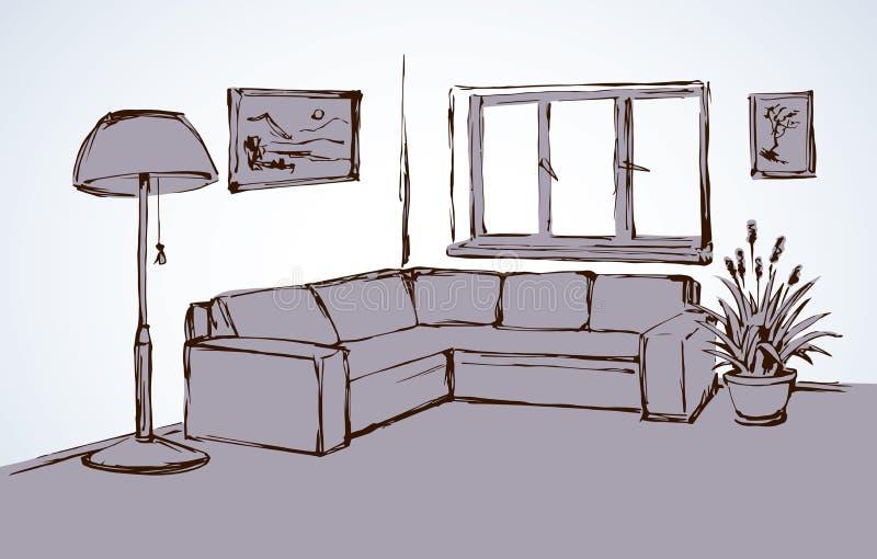 Corner Sofa. Vector Drawing Stock Vector - Illustration of ...
