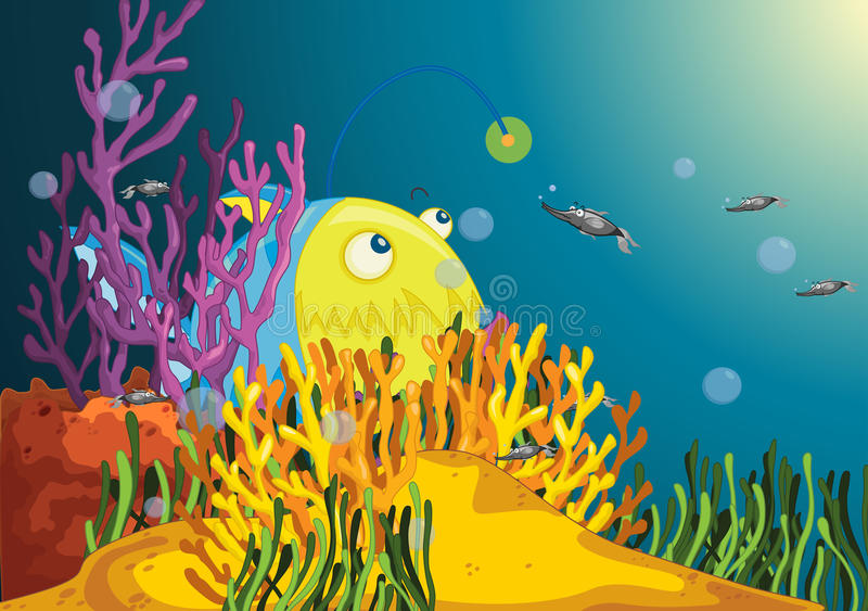 Big Angler. A big angler fish waits as fish approach stock illustration