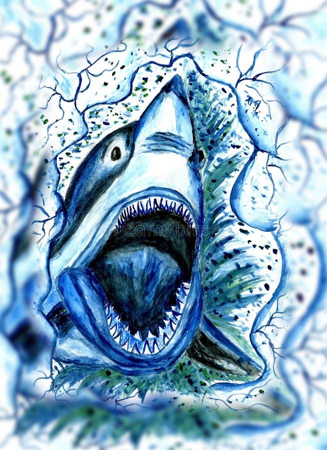 Hungry Shark Drawing stock illustration