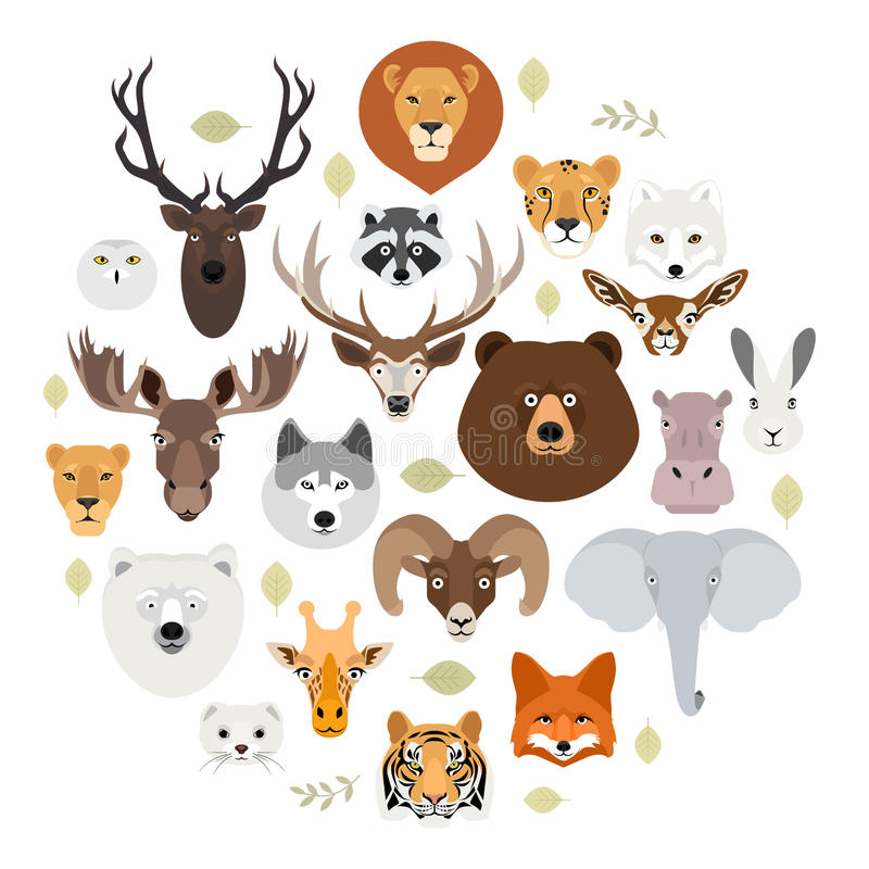 Big animal face icon set. Cartoon heads of fox, rhino, bear, raccoon, hare, lion, owl, rabbit, wolf, hippo, elephant stock illustration