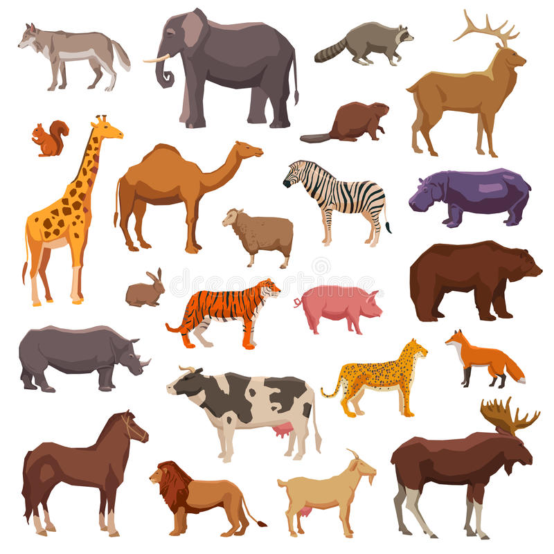 Big Animals Set. Big wild domestic and farm animals decorative icons set isolated vector illustration